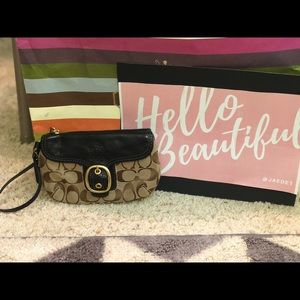 Coach Signature Logo Brown Gold Buckle Wristlet
